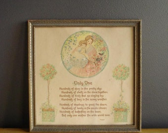 Vintage Frame with Mother Saying - Vintage Square Frame with Old Mother Gift Plaque - Cooper Poem