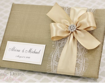Gold Wedding Guest Book Champagne Gold ribbon Custom Made in your Colors