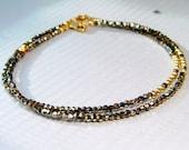 Chocolate Diamond Shade Swarovski Crystal Gold Bracelet, Stacking Bracelet, Minimalist, Delicate Jewelry, Modern, Bronze - Made to Order