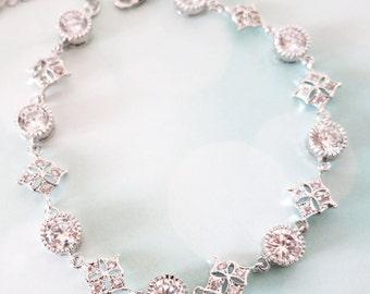 Chantal - Silver Sparkling Cubic Zirconia Bracelet, gifts for her, sparkly bracelet, silver Bridesmaid bracelet, wedding jewelry, crystal