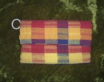 Virginia Art Slip Cover Bag Mod Clutch 1960s Clutch 60s Clutch 1970s Clutch 70 Clutch Plaid Wallet Madras Plaid 60s Wallet 70s Wallet