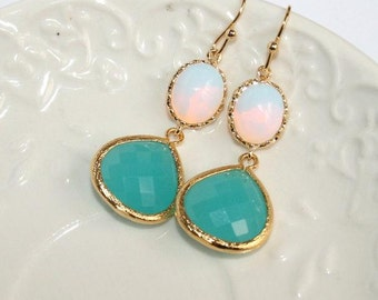 Opal Mint Earrings,Mint Drop Earrings,Teardrop Earrings Gold, Feminine Wedding Jewelry, White Mint Earrings Bridal Earrings Bridesmaid Gift