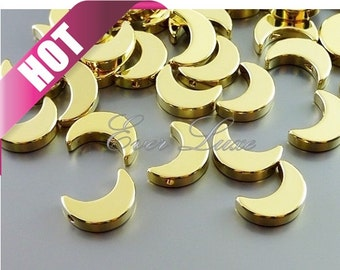 Best selling item / 4 SHINY gold crescent moon silhouette beads, moon beads, jewelry making craft supplies 1656-BG (bright gold, 4 pieces)