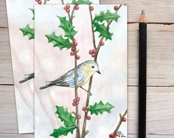bird cards, blank holiday cards, Christmas card set, bluebird stationery, winter invitations, art print notecard