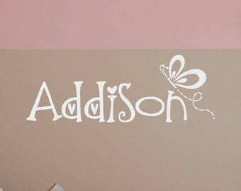 Butterfly Name decal, Butterfly wall decal, Butterfly Nursery decor, Girls bedroom, Personalized vinyl lettering LL0425