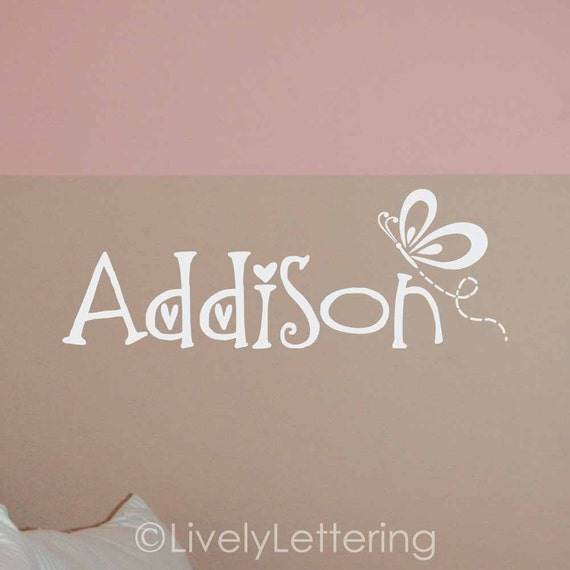 Personalized Name with Butterfly wall decal, girls bedroom, butterfly decor, butterfly wall art, butterfly name decal vinyl lettering W00425