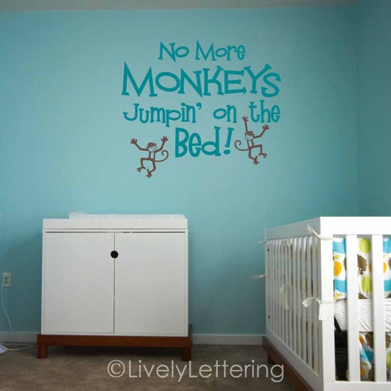 No More Monkeys Jumping on the Bed wall decal, nursery rhyme vinyl lettering, playroom wall decor, child bedroom decal, nursery decal W00641