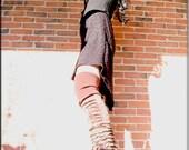 Thigh High Leg Warmers - Steampunk Clothing Accessory - Long Sexy Socks - Knee High Leggings - Patchwork Socks - Burning Man - One Size