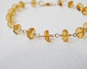 Citrine Bracelet - Gold Filled Beadsork Bracelet Rosary Chain Bracelet Beaded Bracelet Faceted Beads
