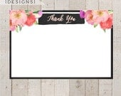 Floral Watercolor Flat Thank You Note, Watercolor Flowers, Flat Note, Gold Glitter Note, Shower Thank You Note, Printable Thank You Note