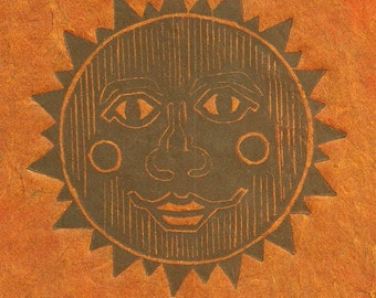 Ancient Sun- Linocut Print- Aztec Inca Mexico- 7 x 8- Signed 1 of 1 Monoprint