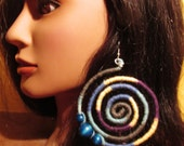 Multi Blue Yellow Purple Wood bead spiral earrings