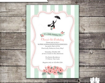 INSTANT DOWNLOAD Mary Poppins Party Invitation