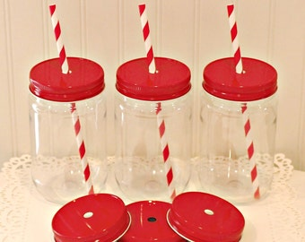 Plastic Mason Jar, 12 Plastic Mason Jars with Metal Straw Hole Lid, FREE PAPER STRAWS,  Mason Jar Cup, Wedding Favors, Christmas Party Favor
