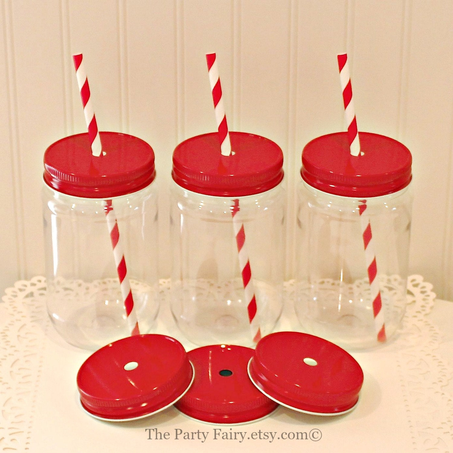 Plastic Mason Jar 6 Plastic Mason Jars with Metal Straw Hole