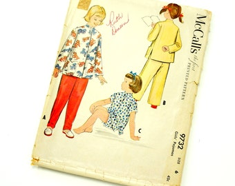 Vintage 1950s Girls Size 6 Asian Style Pajamas McCalls Sewing Pattern 9732 / chest 24 waist 22 / Complete