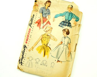 Vintage 1950s Girls Size 8 Blouse and Blouse Slip Simplicity Sewing Pattern 4419 / Complete