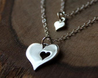 Mother & Child Heart Necklace - Double Strand Necklace - Sterling Silver