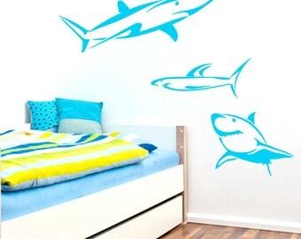 Set Of Sharks - Nursery and Kid's Room Animal Wall Decals