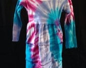 Girl's Tie-Dye Three-Tier Dress in Pink, Purple and Blue