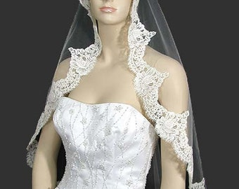 French Alencon Lace Mantilla Veil, Lace Veil Wedding, Bridal Veil