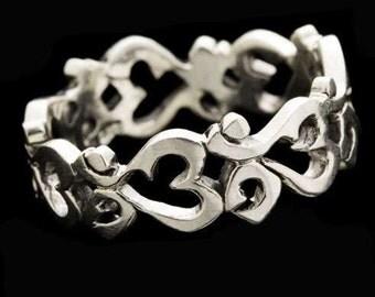 Ohm Circle Silver Ring, Charm Ring, Charm Jewelry, Unisex Ring, Ethinc Jewelry, Yoga Jewelry, Spiritual Jewelry, Om Ring, Boho ring, Tribu