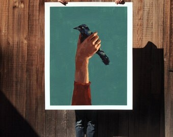 Bird in Hand.  extra large wall art . giclee print