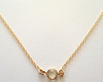 Dainty Quartz Necklace, Clear Vermeil Bezel on Delicate 14K Gold Filled Chain, Pearl Accents, Beautiful Simplicity. TN230