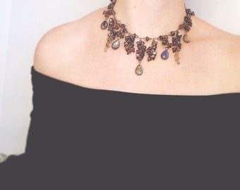 queenCHOKER- labradorite and crystal statement choker bold necklace