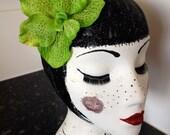Kitsch Kawaii hair accessory green orchid hair clip headwear beach holiday festival pearls and swine