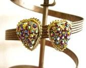 Heart Earrings, Aurora Borealis Earrings Heart Jewelry Sparkly Earrings, Red Rhinestone Earrings, Blue Rhinestone Earrings, Clip On Earrings
