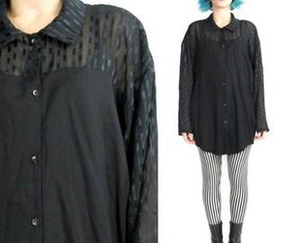 90s Black Sheer Sleeve Blouse Slouchy Oversize Blouse Abstract Print Modern Goth Semi Sheer Striped Shirt Scoop Hem Shirt (M/L)
