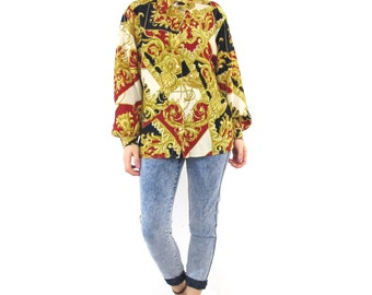 80s Baroque Print Silk Blouse Long Sleeve Button Down Shirt Slouchy Oversize Collared Shirt Gold Red Black Blouse Made In Italy (M/L)