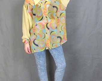 90s Abstract Print Sheer Blouse Psychedelic Sheer Sleeve Shirt Yellow Slouchy Button Down Long Sleeve Shirt Star Button Fly Girl (L/XL)