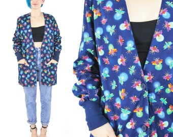 90s Fire Fly Novelty Print Jacket Long Sleeve Top Summer Blue Cotton Jacket Insects Lightning Bugs Fireflies Nurses Button Up Cardigan (S)
