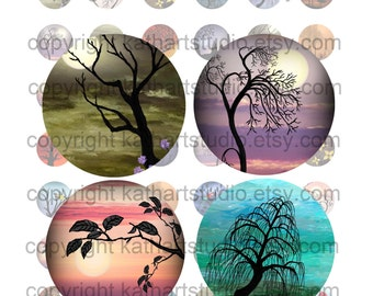 Buy 2 GET 2 FREE - Instant Download - Digital Collage Sheet of my original paintings - 7/8 inch circles for pendants, magnets 51