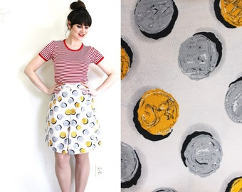 1940s Shorts / 1940s Culottes / 40s Coin Novelty Print Shorts Skirt