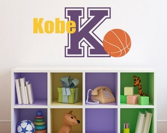 Basketball Wall Decal With Initial U0026 Name   Sports Wall Decal   Boy Bedroom  Wall Art