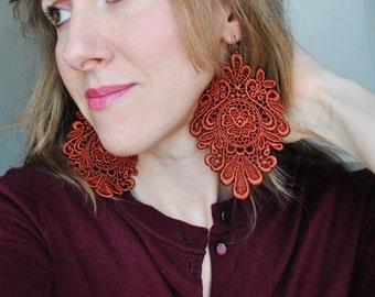 Terracotta Lace Earrings/ Long earrings/ Perfect gift/ Bohemian/ Modern boho/ Gift idea/ rusteam