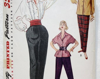 Vintage 40's Simplicity Sewing Pattern 4464 Blouse, Overblouse and Tapered Slacks Size 16 Bust 34