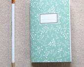 Mini Journal, Booklet, Jotter, Pocket Notebook - Mint Vines