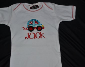 Car onesie Size 12-18 mo.  Embroidered with name Jack.  All Sales Final.  Ready to ship!  Clearance Sale!!