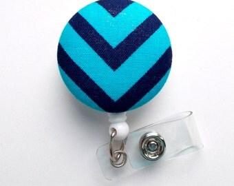 Navy and Turquoise Chevron - Nurse Badge Holder - Medical Badge Reel - Retractable Badge Reel - Teacher Badge - Cute Badge Reel - Male Badge