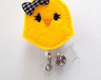 Yellow Chick with a bow - Retractable Badge Reel - MD Badge Holder - Cute Badge Reel - Nurse Badge Holder - Nursing Badge Clip - Felt Badge