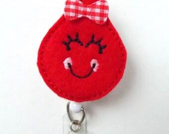 Smiling Blood Drop - Retractable Badge Reel - Name Badge Holder - Cute Badge Reel - Badge Reels - Lab Technician Badge - Hospital Badges