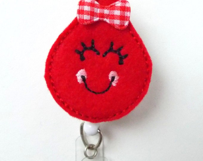 Smiling Blood Drop - Retractable Badge Reel - Name Badge Holder - Cute Badge Reel - Badge Reels - Lab Technician Badge - Hospital Badges