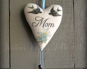 Handcrafted Heart Ornament For Mom, Rustic Home Decor Heart With Swallows and Flowers, Handmade Heart Ornament Gift For A Special Mom