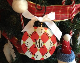 Monogram / Personalize Flat Metal Ornament - Large Size
