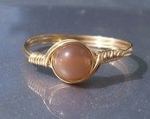 Peach Moonstone Ring, 14k Gold Filled Ring,  Wire Wrapped Ring, Chamagne Ring, Stone Ring