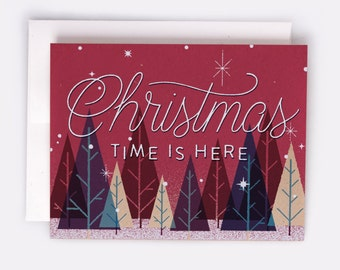 "Christmas Time Is Here Holiday Card - 100% Recycled French Paper Speckletone Kraft, Vintage Inspired, 4.25"" x 5.5"" A2"